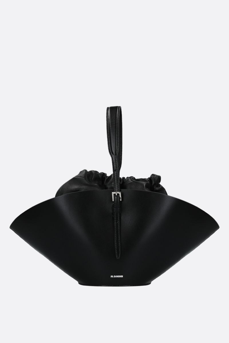 JIL SANDER: Sombrero small top handle bag in smooth leather Color Black_1