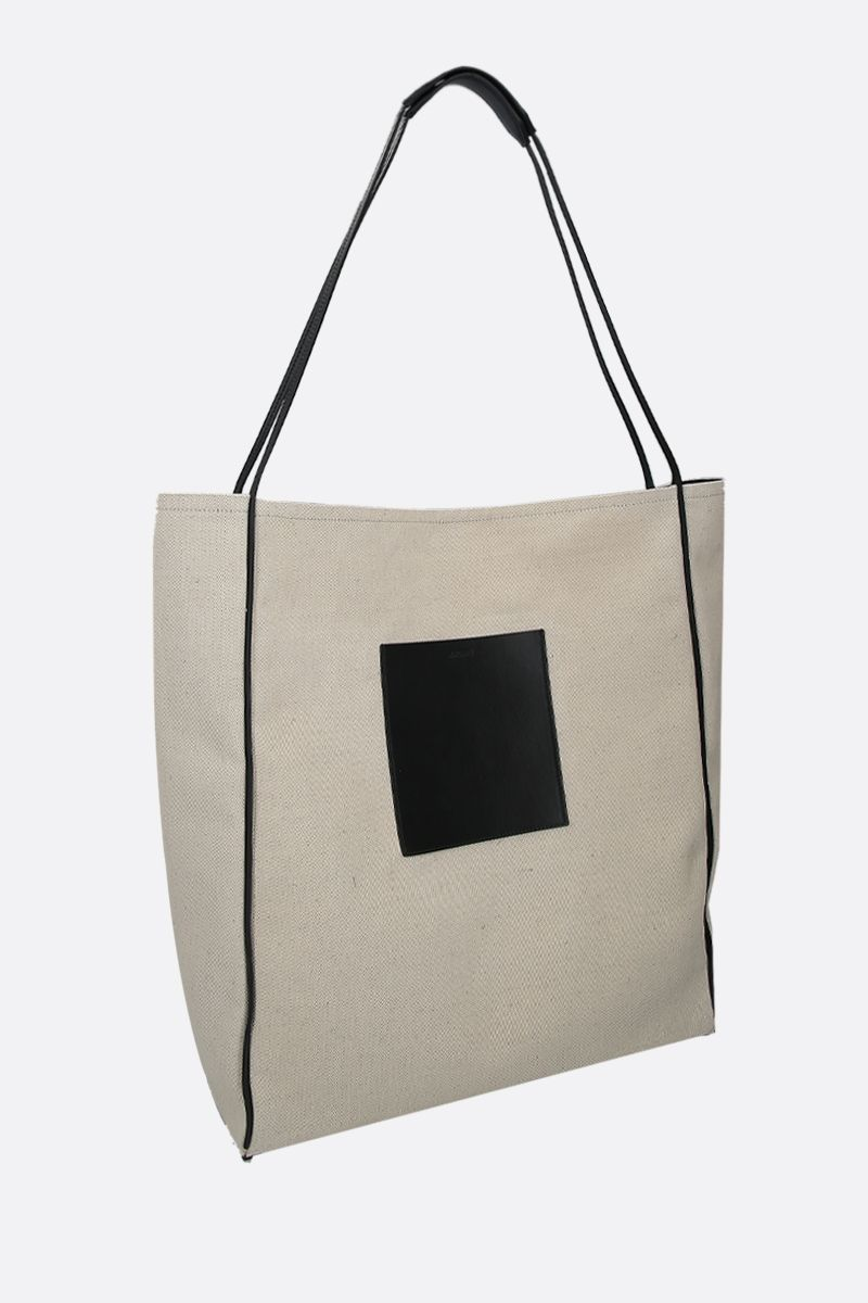 JIL SANDER: borsa shopping in canvas e pelle Colore Neutro_2