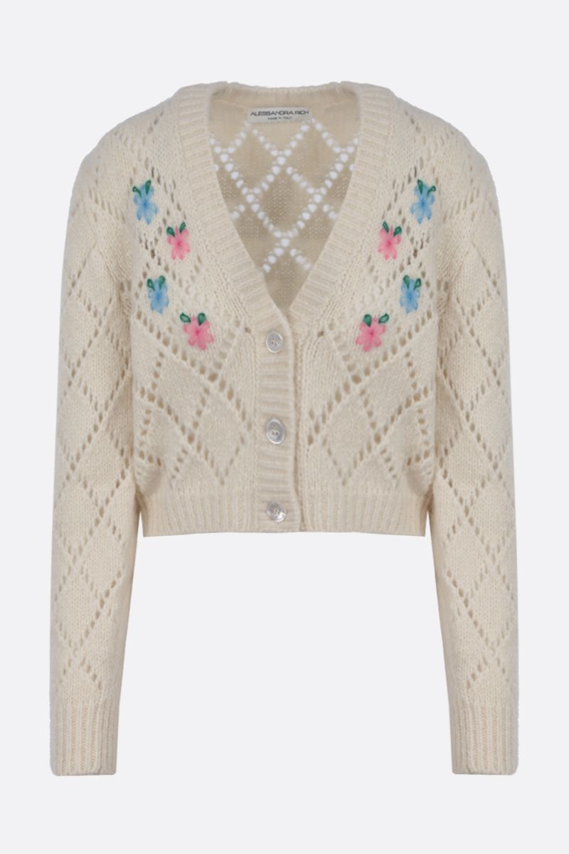 ALESSANDRA RICH: floral embroidered alpaca blend cropped cardigan Color White_1