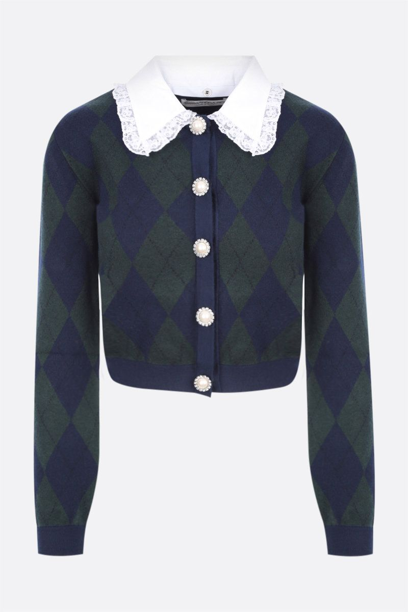 ALESSANDRA RICH: argyle mohair blend cropped cardigan Color Green_1