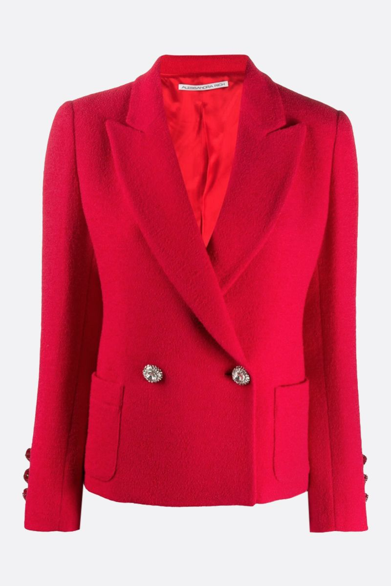 ALESSANDRA RICH: wool blend single-breasted jacket Color Red_1