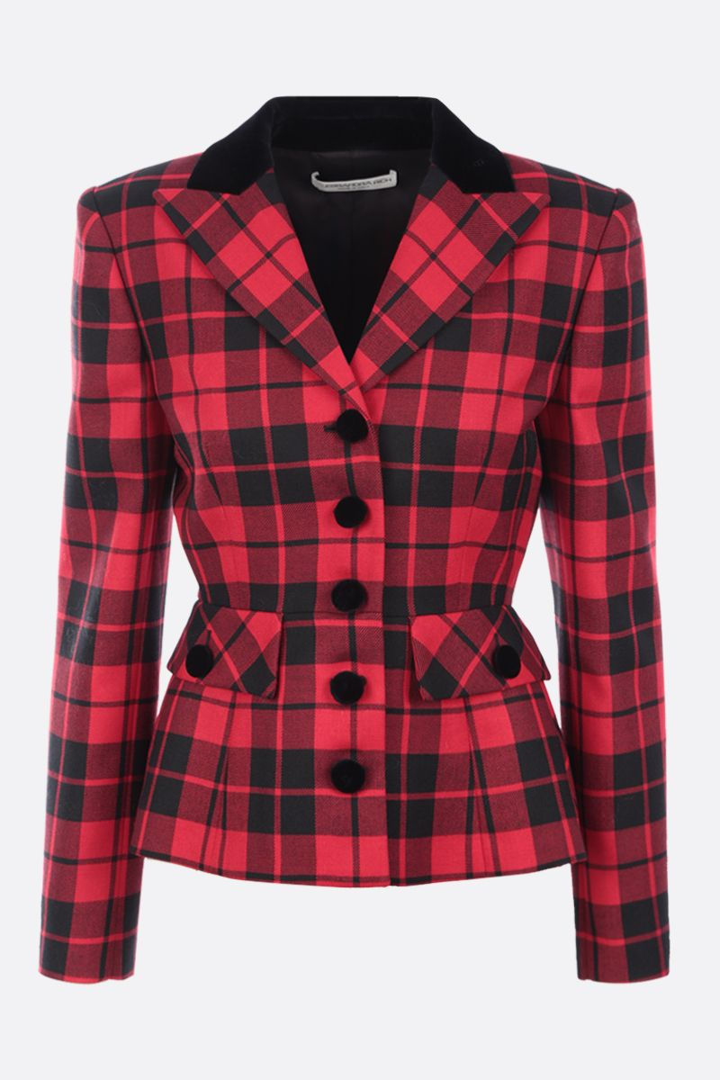 ALESSANDRA RICH: single-breasted check wool jacket Color Red_1