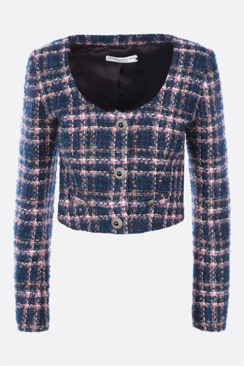 ALESSANDRA RICH: single-breasted tweed cropped jacket Color Blue_1