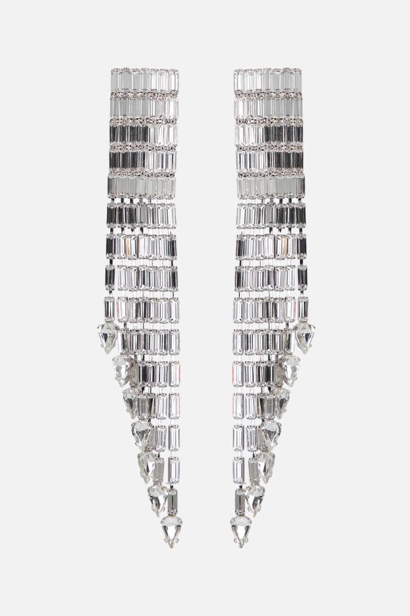 ALESSANDRA RICH: crystal baguette cascade earrings Color Silver_1