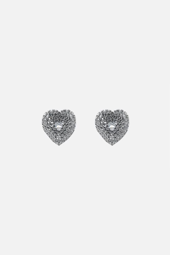 ALESSANDRA RICH: mini crystal heart earrings Color Neutral_1