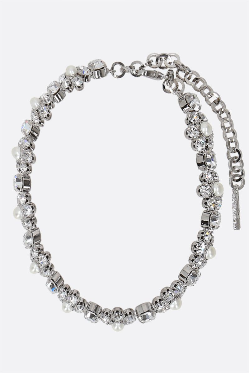 ALESSANDRA RICH: Daisy brass choker with crystals and pearls_1