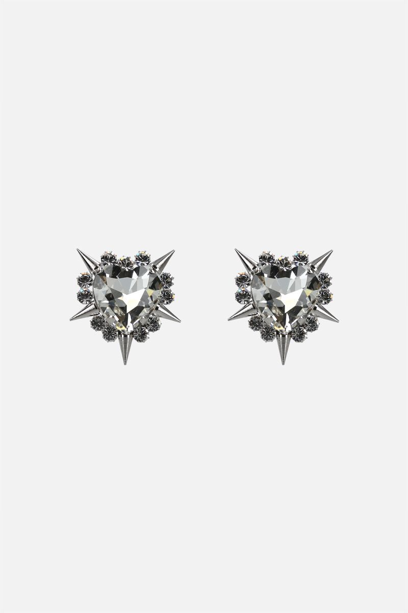 ALESSANDRA RICH: spike and crystal-embellished brass heart earrings_1