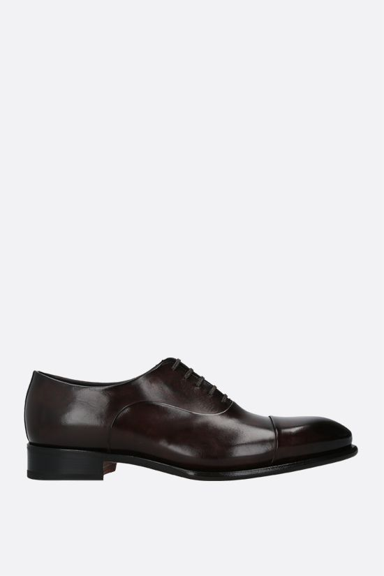 SANTONI: shiny leather oxford shoes Color Brown_1