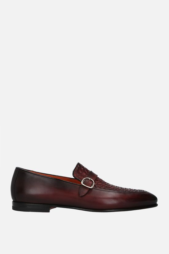 SANTONI: buckle-detailed smooth leather loafers Color Brown_1