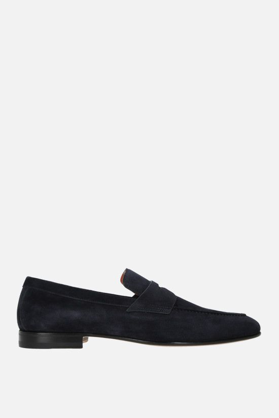 SANTONI: suede loafers Color Blue_1