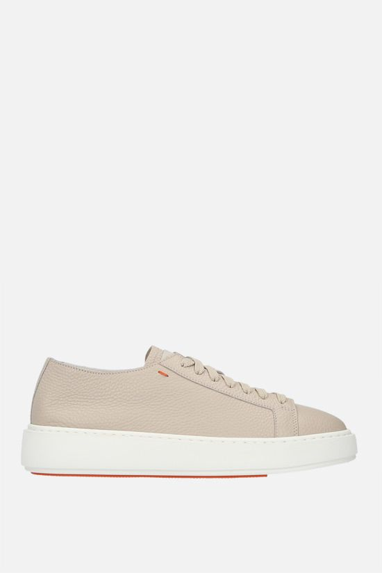 SANTONI: grainy leather low-top sneakers Color Neutral_1