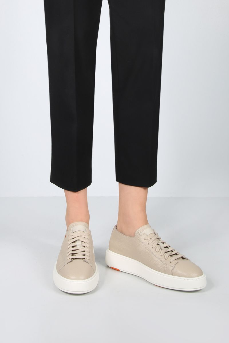 SANTONI: grainy leather low-top sneakers Color Neutral_2