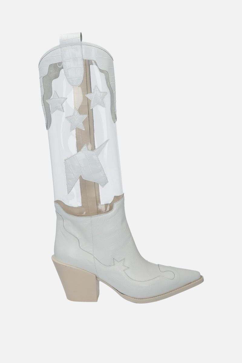 FRANCESCA BELLAVITA: Amazon leather and PVC western boots Color White_1