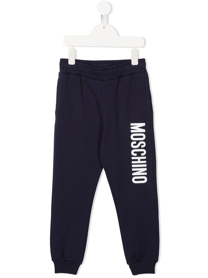 MOSCHINO KIDS: pantalone jogging in cotone stretch stampa logo Colore Blu_1