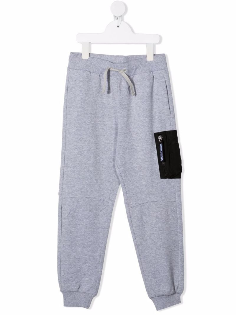 MOSCHINO KIDS: stretch cotton joggers Color Grey_1