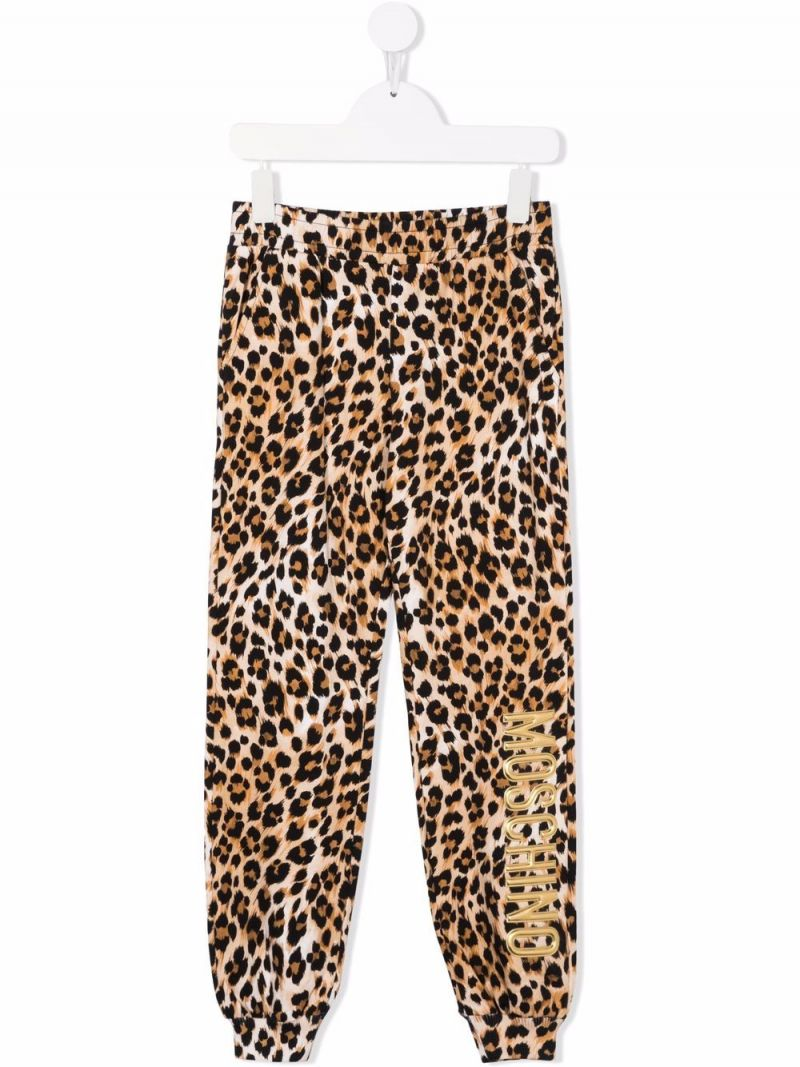 MOSCHINO KIDS: leopard print stretch cotton joggers Color Animalier_1