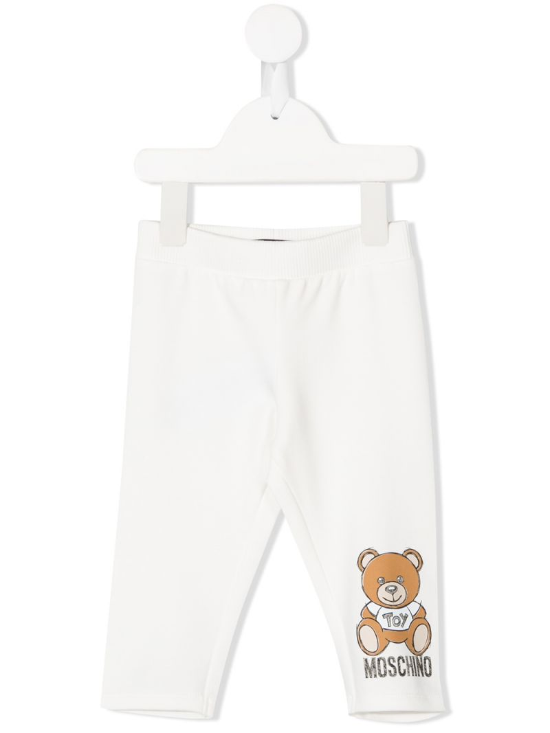 MOSCHINO KIDS: pantalone jogging in cotone stretch stampa Moschino Teddy Bear Colore Grigio_1