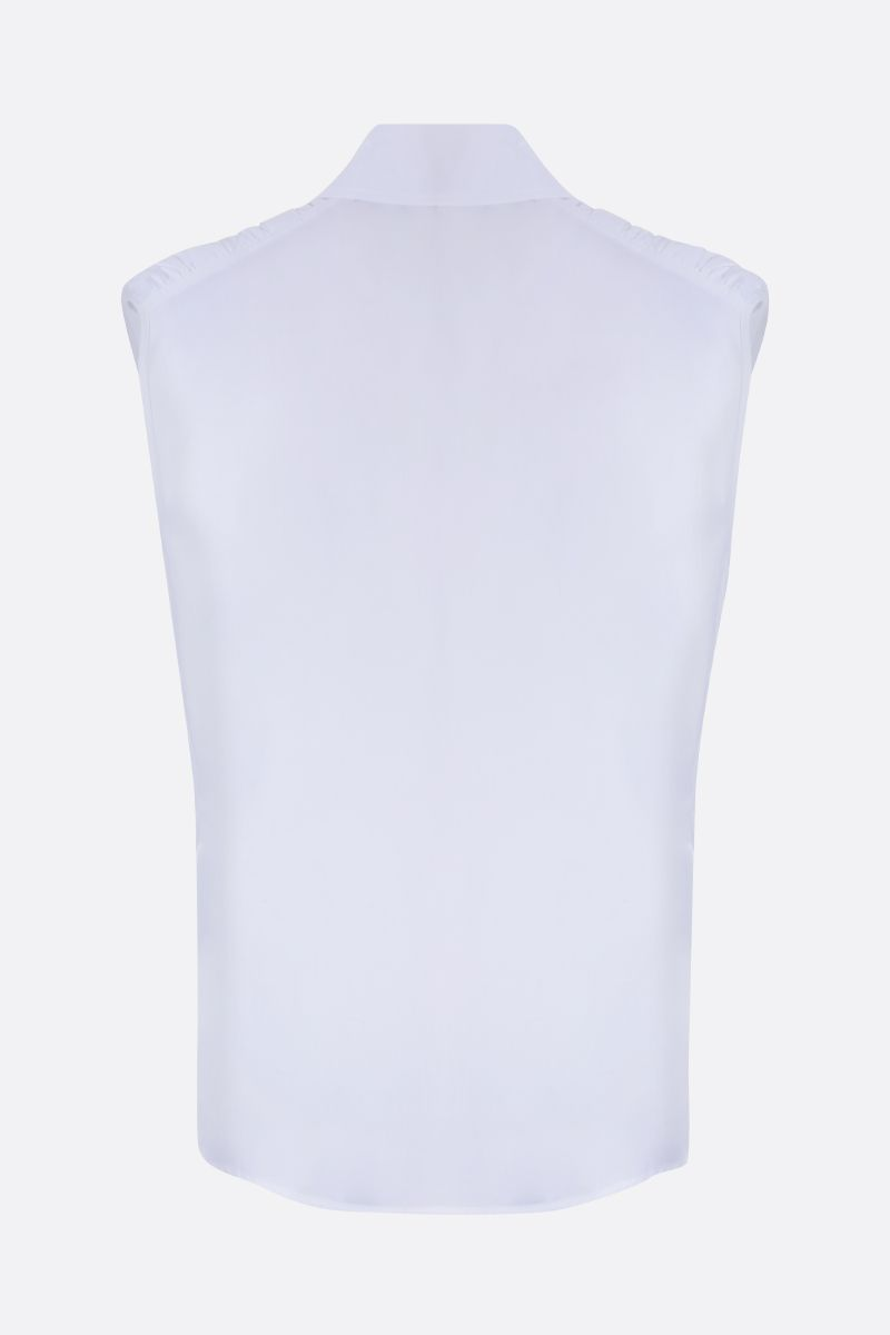 SEE BY CHLOÈ: gathered detail cotton sleeveless shirt Color White_2