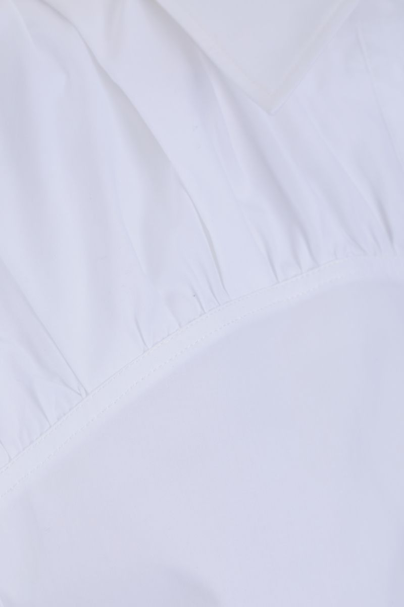 SEE BY CHLOÈ: gathered detail cotton sleeveless shirt Color White_4
