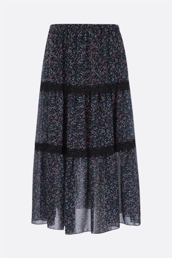 SEE BY CHLOÈ: Floral haze print gerogette midi skirt Color Blue_1