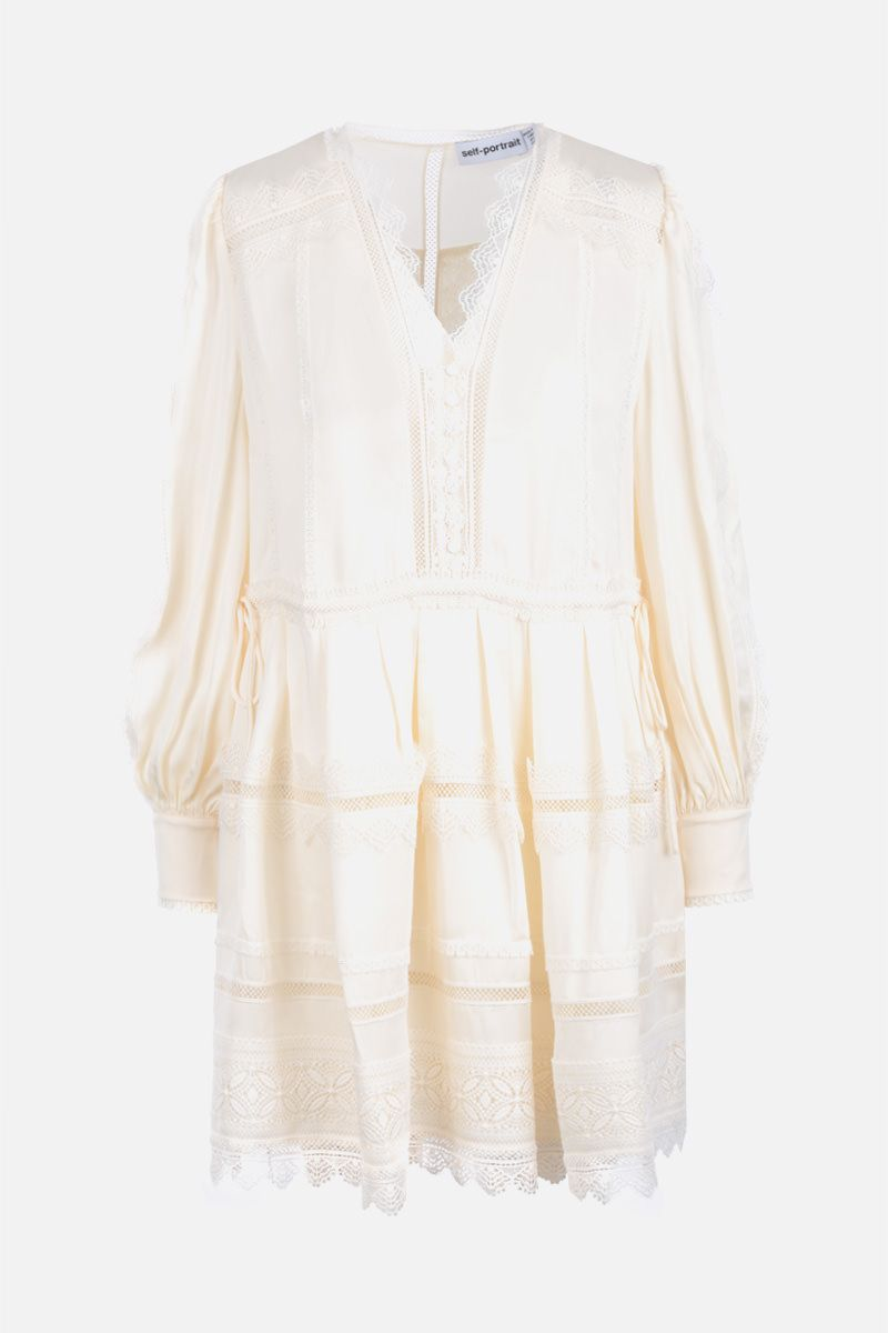 SELF PORTRAIT: twill short dress with lace trims Color White_1