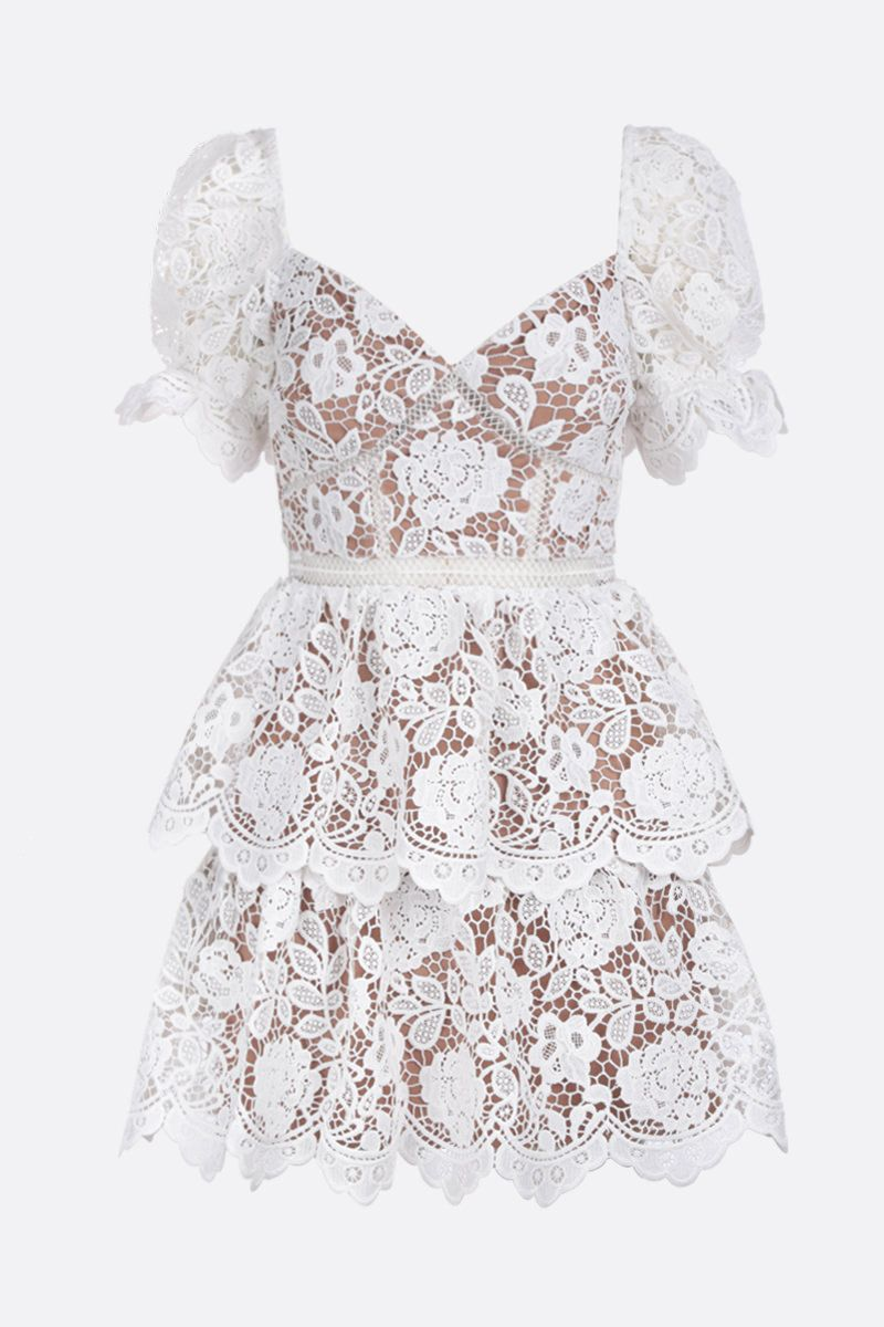 SELF PORTRAIT: floral lace flounced minidress Color White_1