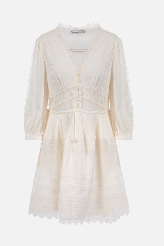 SELF PORTRAIT: lace-trimmed twill minidress Color White_1
