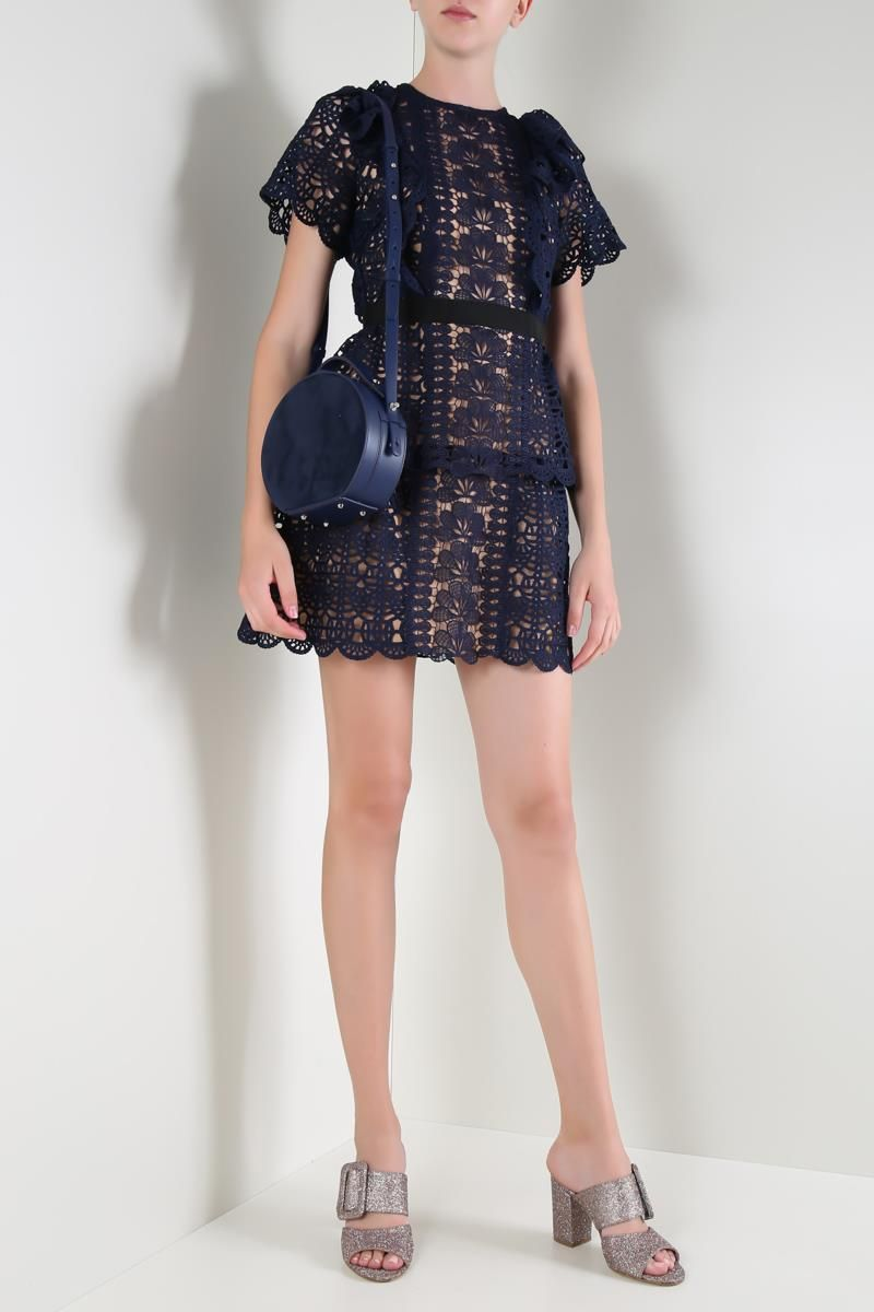 SELF PORTRAIT: Guipure lace minidress Color Blue_2