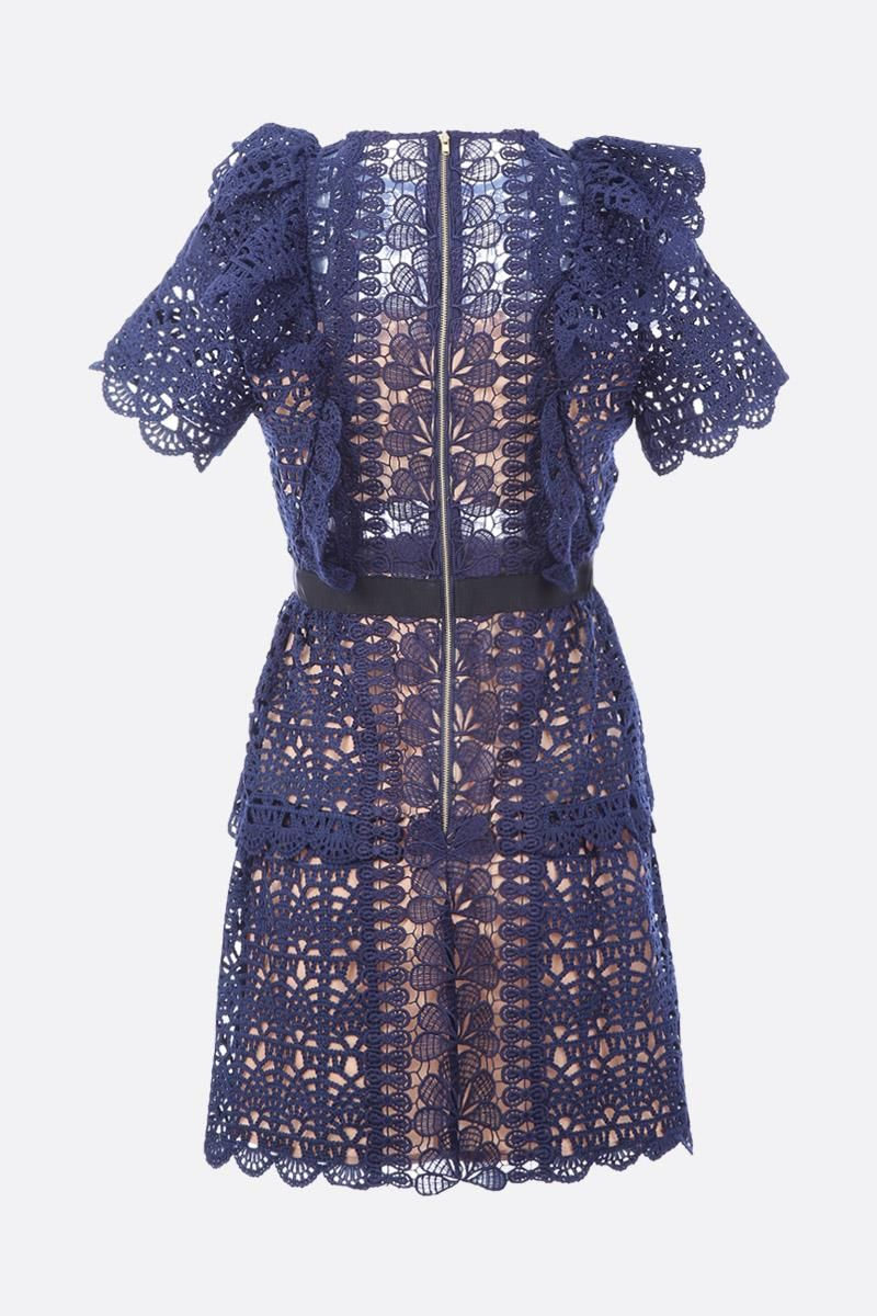 SELF PORTRAIT: Guipure lace minidress Color Blue_3