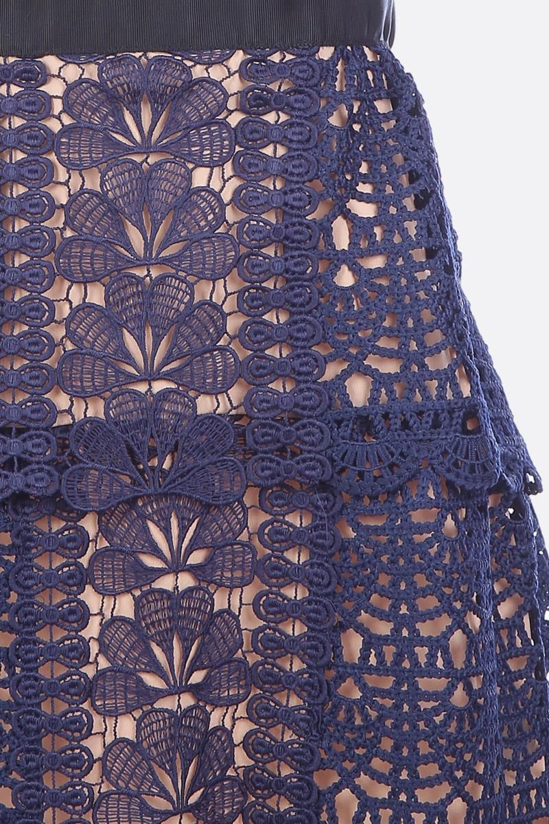 SELF PORTRAIT: Guipure lace minidress Color Blue_4