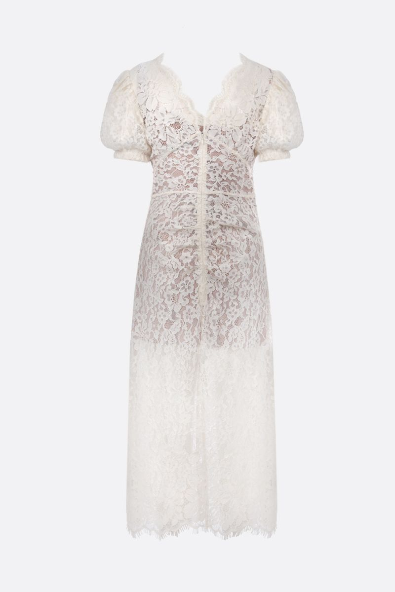 SELF PORTRAIT: jewel button-detailed floral lace midi dress Color White_2