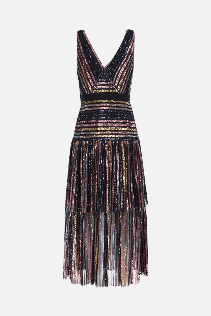 SELF PORTRAIT: stripe sequin midi dress Color Multicolor_2