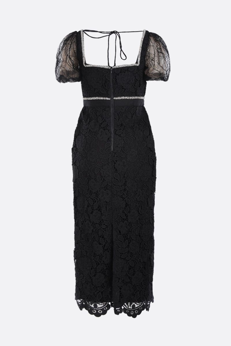 SELF PORTRAIT: floral lace midi dress with crystals and beads Color Black_2
