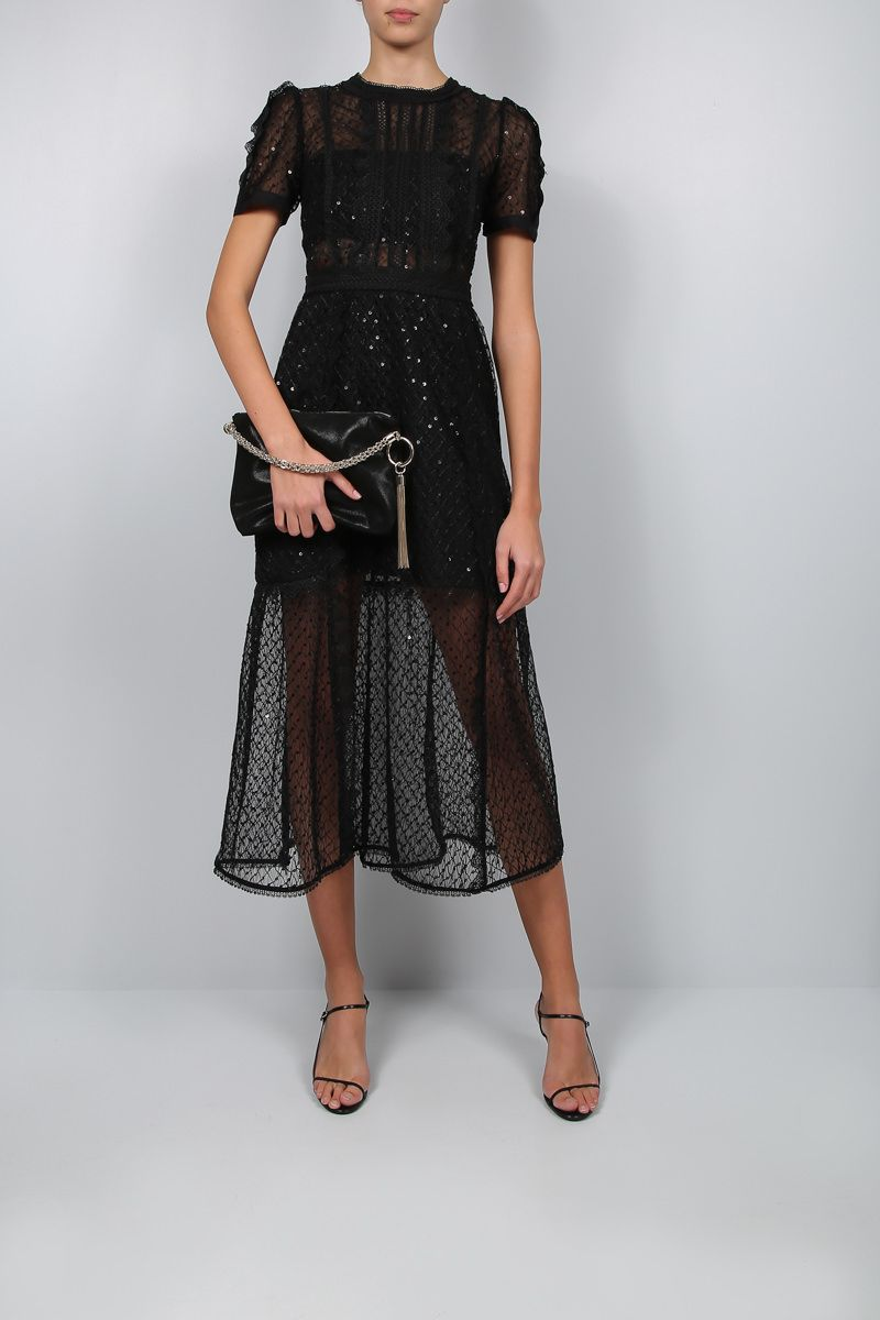 SELF PORTRAIT: tulle midi dress with lace trims Color Black_2