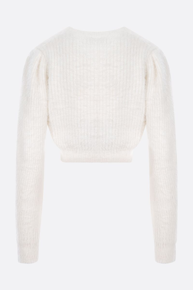 SELF PORTRAIT: cropped knit cardigan Color White_2