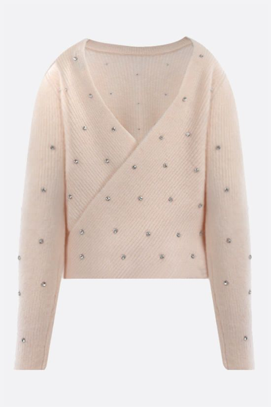 SELF PORTRAIT: crystal-embellished wool blend pullover Color White_2