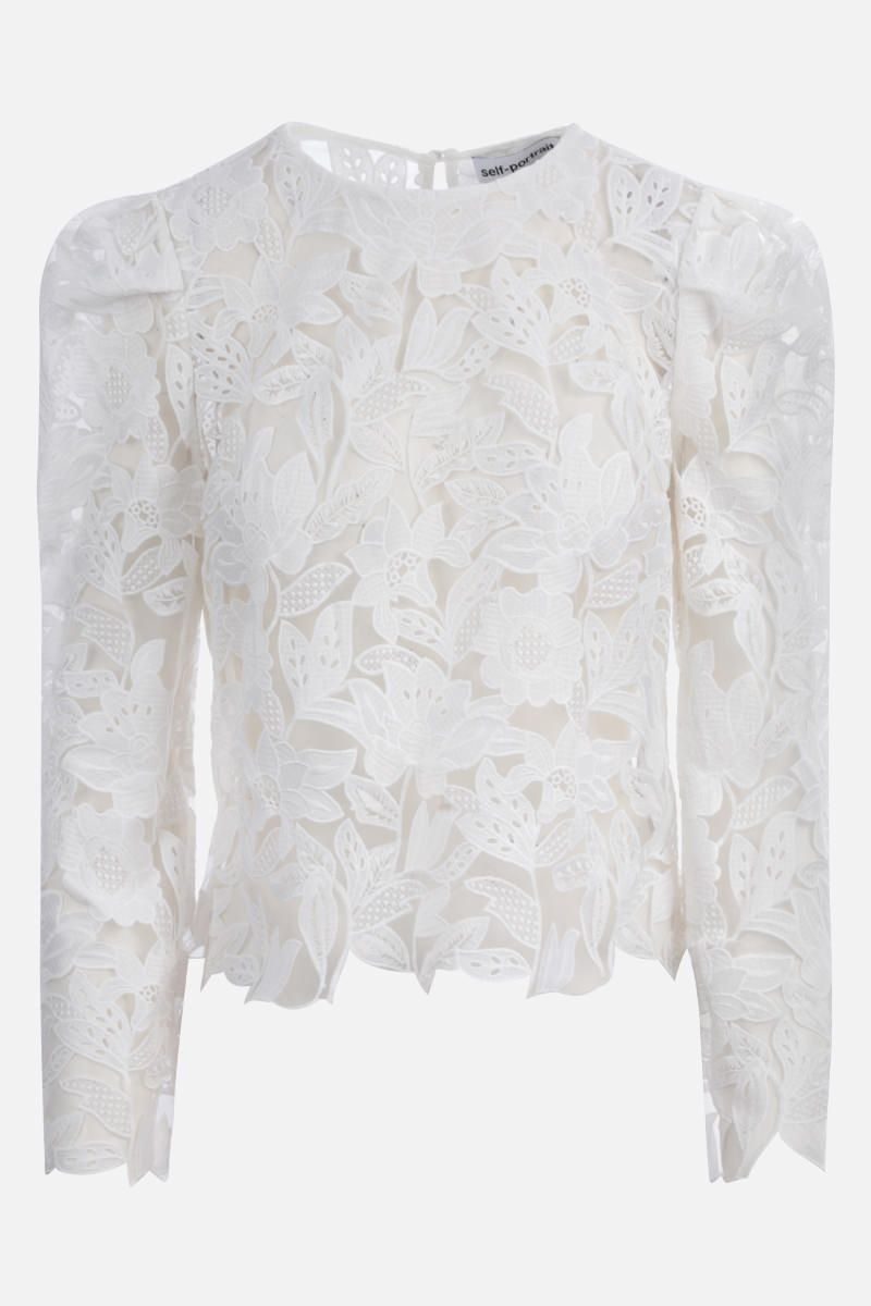 SELF PORTRAIT: guipure lace long-sleeved top Color White_1