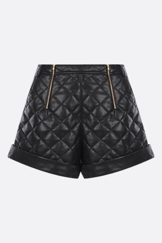 SELF PORTRAIT: quilted faux leather shorts Color Black_1