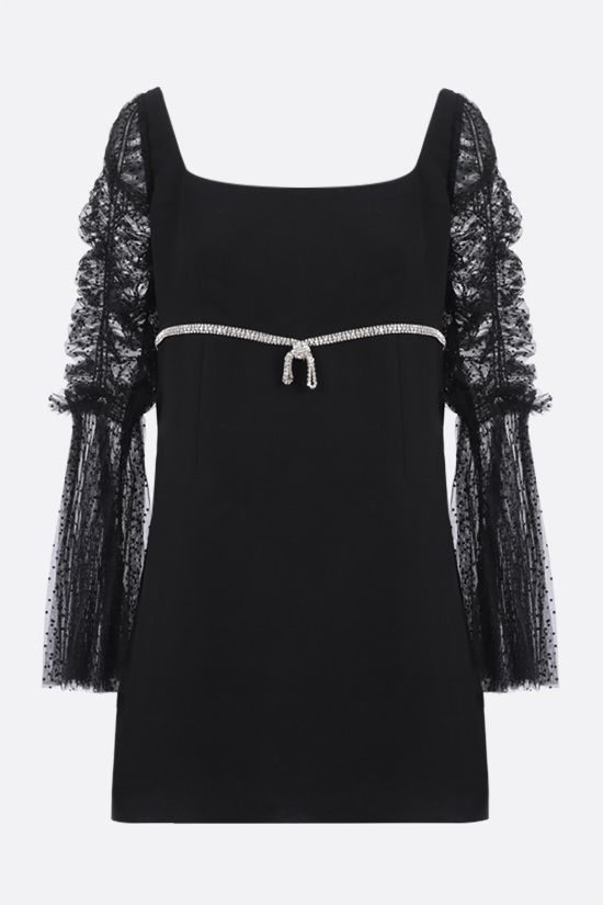 SELF PORTRAIT: bow-detailed crepe minidress Color Black_1