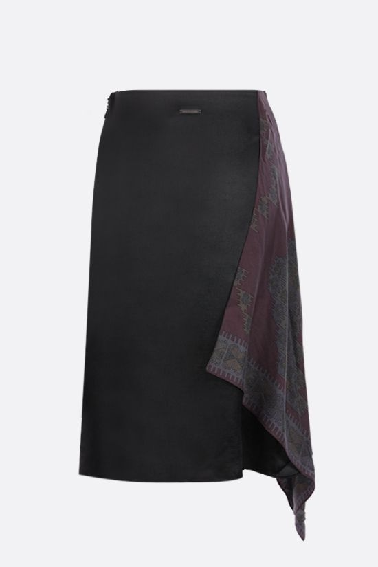 MARINE SERRE: upcycled silk scarf-detailed midi satin skirt Color Black_2