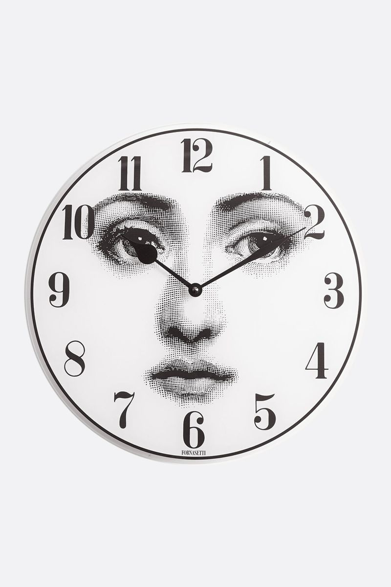 FORNASETTI: Viso glass wall clock Color White