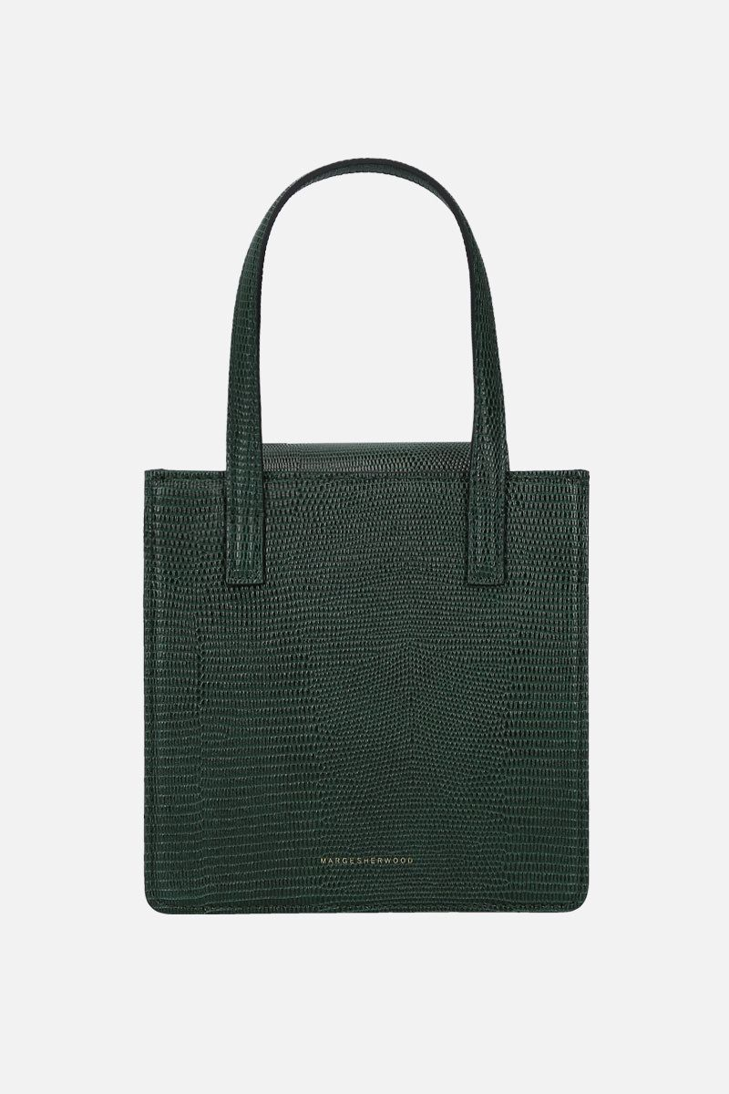 MARGESHERWOOD: Grandma lizard-embossed leather handbag Color Green_1