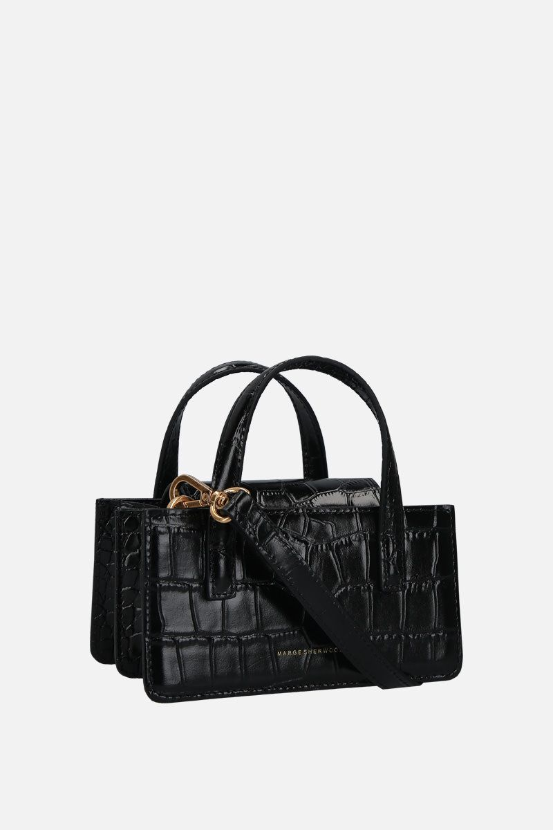 MARGESHERWOOD: borsa a mano Grandma mini in pelle stampa coccodrillo Colore Nero_2