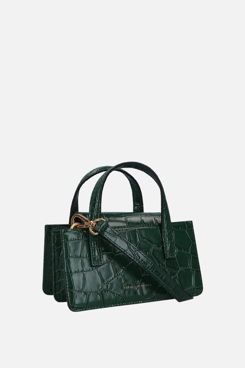 MARGESHERWOOD: borsa a mano Grandma mini in pelle stampa coccodrillo Colore Verde_2