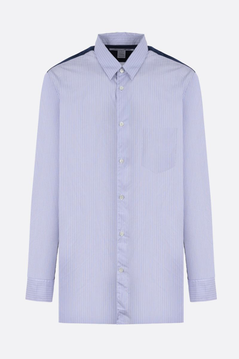 COMME des GARCONS SHIRT: flannel insert striped cotton shirt Color Blue_1