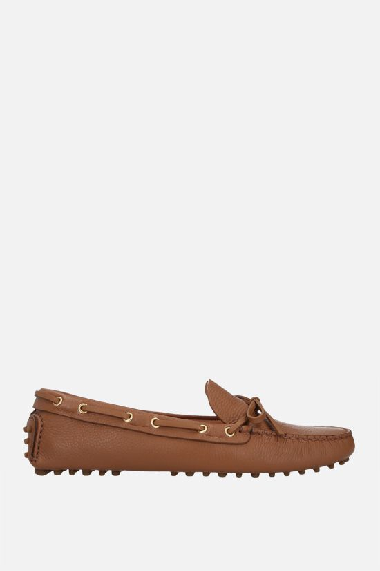 CAR SHOE: deer-embossed leather driving loafers Color Brown_1