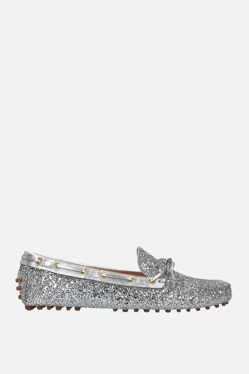 CAR SHOE: glitter fabric driving loafers Color Silver_1