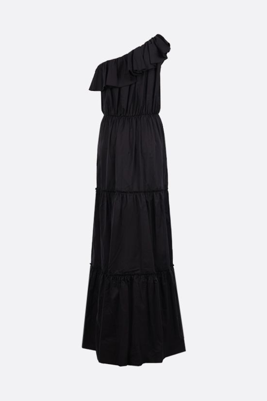 FEDERICA TOSI: one-shoulder cotton silk blend dress Color Black_2