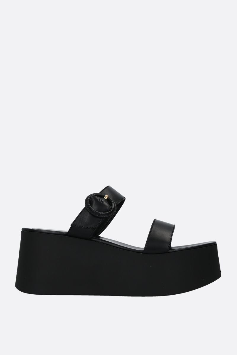 GIANVITO ROSSI: smooth leather flatform sandals Color Black