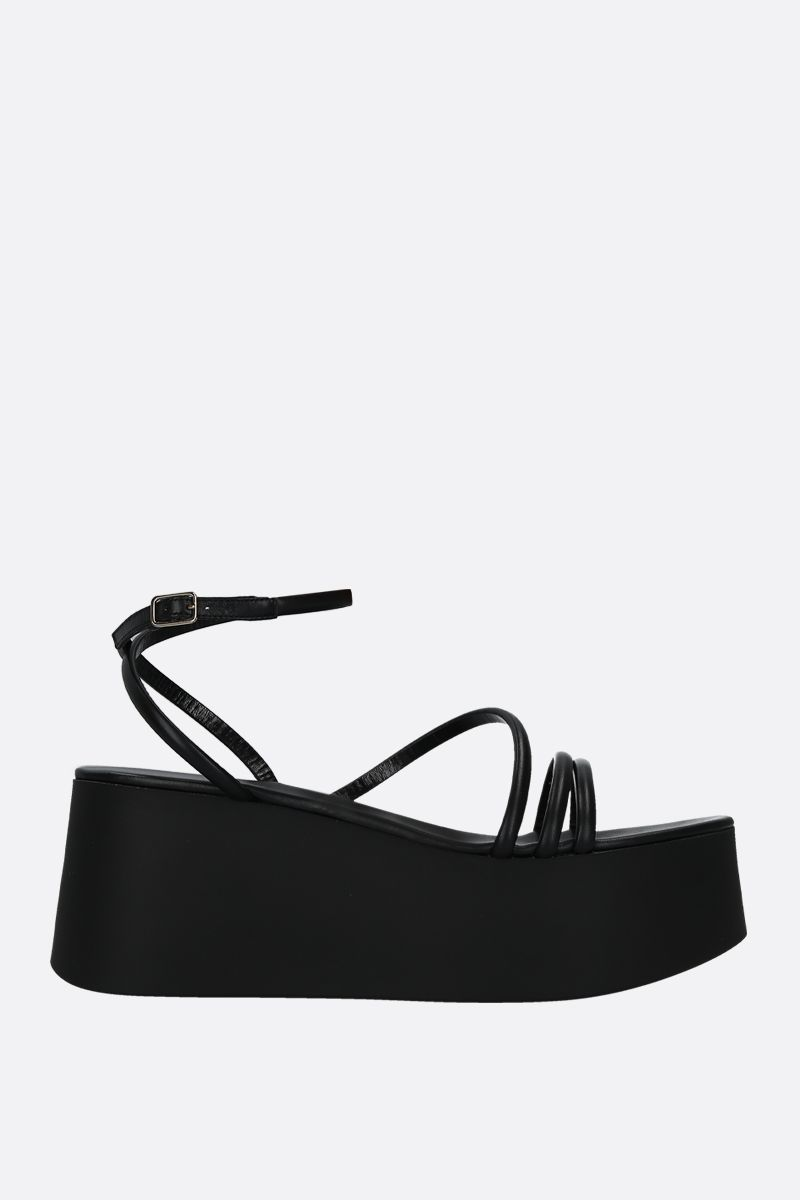GIANVITO ROSSI: Bekah flatform sandals in soft nappa Color Black_1